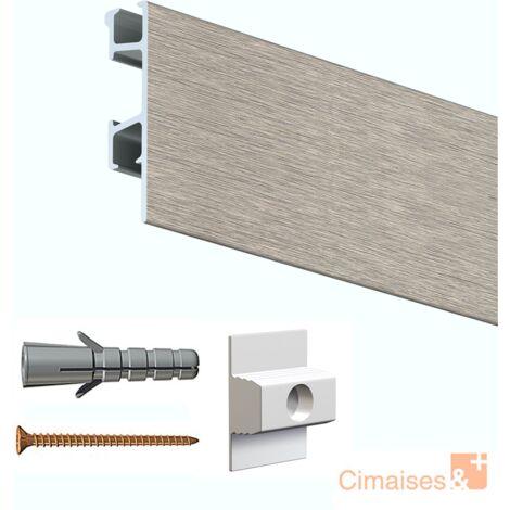 Rail cimaise Click Pro alu 200cm + clips de fixation + vis & chevilles murs creux - Couleur : acier brossé - typedemur : creux