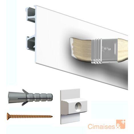 Rail cimaise Click Pro blanc 200cm + clips de fixation + vis & chevilles murs durs - Couleur : blanc - typedemur : plein / dur