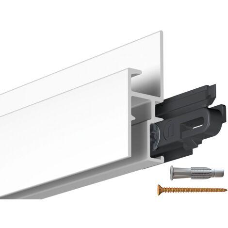 Rail cimaise Gallery-Click R30 200cm + clips + vis & cheville - couleur : aluminium anodisé - conditionnement : rail à l'unité - typedemur : plein / dur