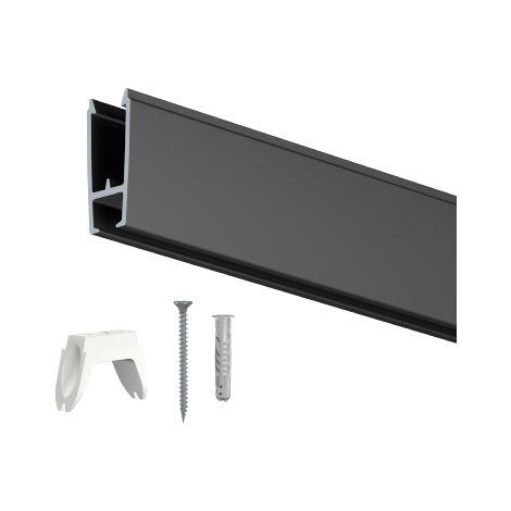 Rail cimaise XPO Rail 200cm + clips + vis + chevilles - rail de suspension de plexi de protection