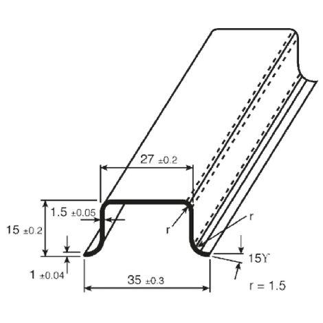 Rail DIN, 1m x 35mm x 15mm Non fendu, Rail oméga profond en Acier