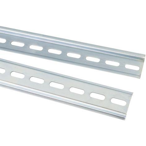 Rail DIN, 2m x 35mm x 7.5mm Fendu, Rail oméga en Acier