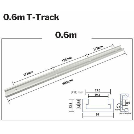 Rail d'onglet en T en aluminium de 600 mm à rainure en T pour routeur à bois (rail en T 0,6 m)