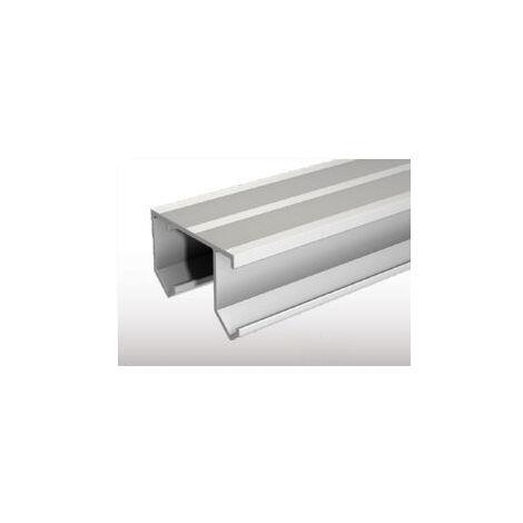 Rail double alu brut TUBEL 3m percé MANTION - 40/300