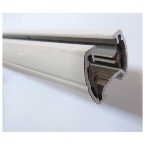 Rail électrique monophasé 1 allumage blanc longueur 2m (sans accessoires) pour luminaires 230V 16A M-RAIL TRAJECTOIRE 235101