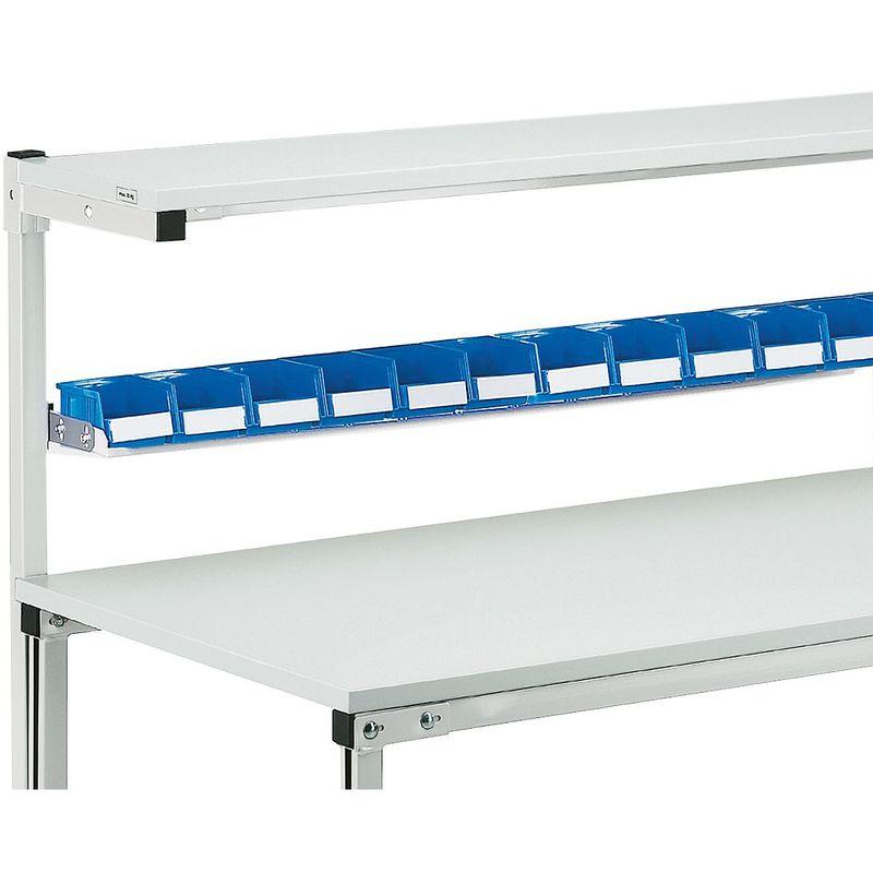 Rail porte-bacs - pour poste de travail avec superstructure - de largeur 1500 mm - Coloris: acier argent