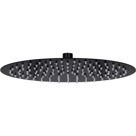 Rain Shower Head Stainless Steel 30 cm Round Black