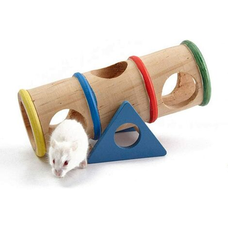 Rainbow Rocking Tube Toy Hamster Swing Toy Wooden Landscaping Pet Golden Bear Can Use Tunnel Hamster Accessories-Swing Toys-Exercise-Increase The Fun Of Life-Suitable For Small Animals