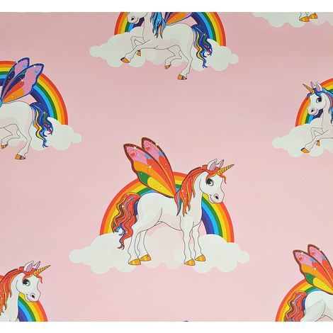 Rainbow Unicorn Wallpaper Kids Pony Multicoloured Girls Pink Bright Feature Wall