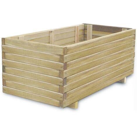 Raised Bed 100x50x40 cm Wood Rectangular - Beige