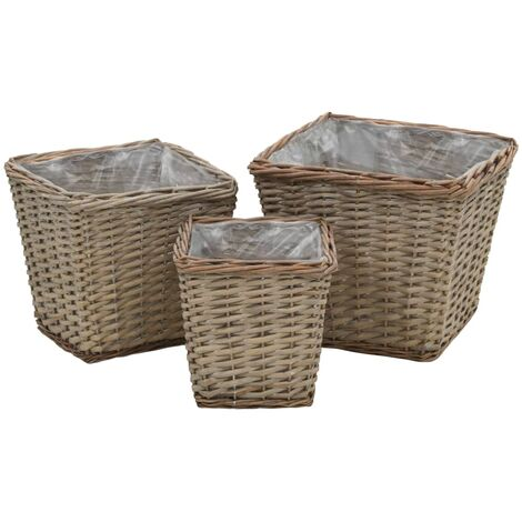 Raised Bed 3 pcs Wicker with PE Lining - Brown