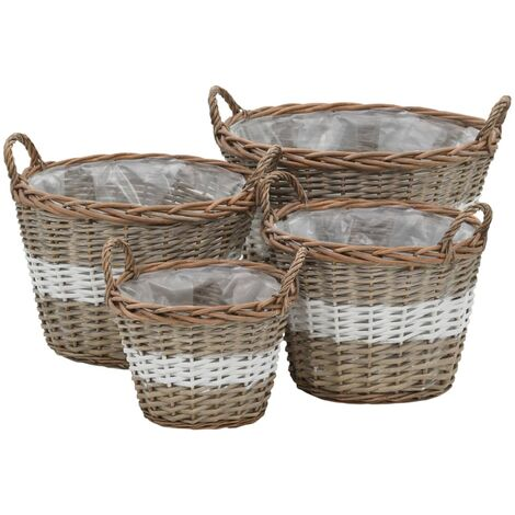 Raised Bed 4 pcs Wicker with PE Lining - Brown