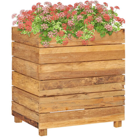 Raised Bed 50x40x55 cm Recycled Teak and Steel