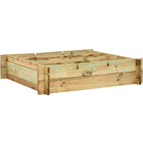 Raised Bed 90x90x20 cm Impregnated Wood - Brown