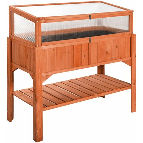 Raised bed with cold frame attachment - garden box, raised planter, garden bed - brown - marrón