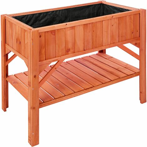 Raised bed with storage - garden box, raised planter, garden bed - brown