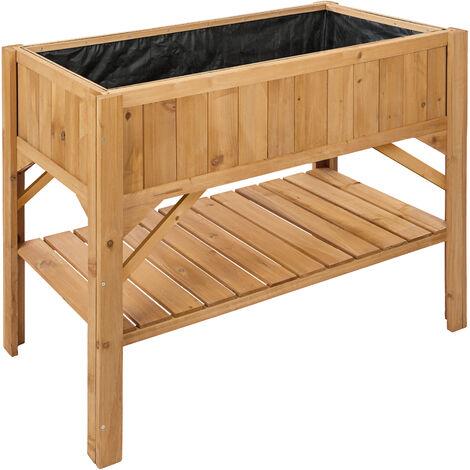 Raised bed with storage - garden box, raised planter, garden bed - brown - marrón