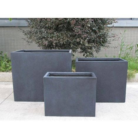 Raised Contemporary Light Concrete Faux Lead Trough Planter H40 L50 W20 cm