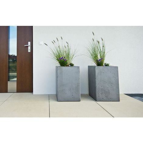Raised Contemporary Light Concrete Grey Trough Planter H40 L50 W20 cm