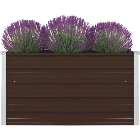 Raised Garden Bed 100x100x45 cm Galvanised Steel Brown
