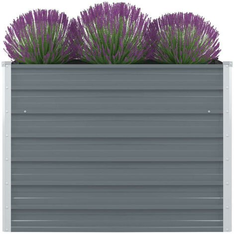 Raised Garden Bed 100x100x77 cm Galvanised Steel Grey