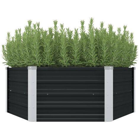 Raised Garden Bed Anthracite 129x129x45 cm Galvanised Steel