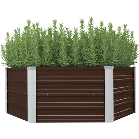 Raised Garden Bed Brown 129x129x46 cm Galvanised Steel