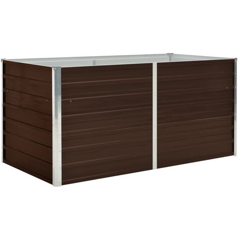 Raised Garden Bed Brown 160x80x77 cm Galvanised Steel
