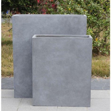 Raised Narrow Contemporary Grey Light Concrete Trough Planter H72 L60.5 W22.5 cm