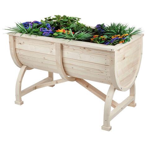 Raised Wooden Planter Barrel Box Flower Vegetable Plant Pot Outdoor Herb Garden