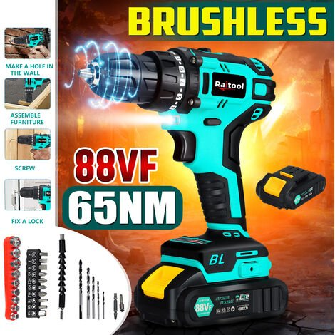 Raitool 88VF 65Nm Cordless Compact Electric Drill + 1/2 Battery