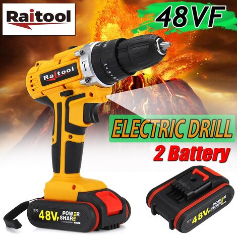 Raitool Cordless Electric Drill 48VF ??& # 8203; & # 8203; 36NM Double 25 + 3 Speed ??Torque Adjustment (with 2Pcs Battery)