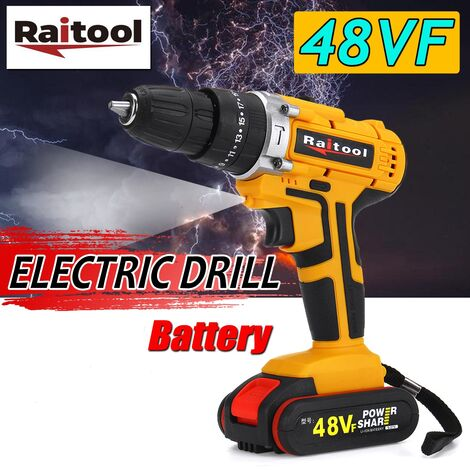 Raitool Cordless Electric Drill Driver 48VF ??& # 8203; & # 8203; 36NM Torque Screwdriver 25 + 3 (with 1Pc battery)