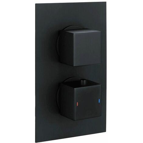 RAK Black Square Concealed 2 Handle Thermostatic Dual Control Shower Valve - RAKSHW3202SB