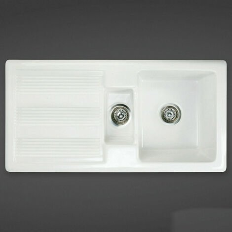 RAK Ceramics Kitchen Sink Rustic 1.5 Bowl White Ceramic Reversible 600mm Cabinet