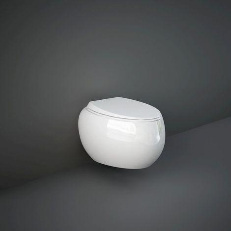 RAK Cloud Gloss Alpine White Wall Hung Toilet Pan with Soft Close Seat - CLOWHPAN/SC