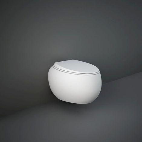 RAK Cloud Matt White Wall Hung Toilet Pan with Soft Close Seat - CLOWHPAN/SC-M