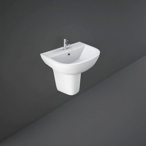RAK Compact 450mm Basin with 2 Tap Holes and Semi Pedestal