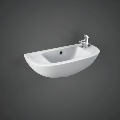 RAK Compact 450mm Slimline Basin with 2 Tap Holes - COMSLWB2