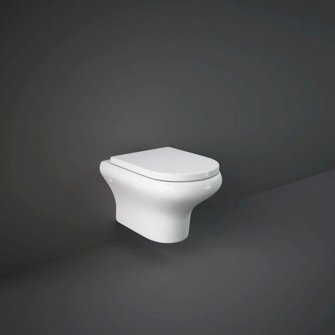 RAK Compact 520mm Rimless Wall Hung Toilet Pan with Soft Close Seat and Hidden Fixings - COMWHPAN-HF/SC