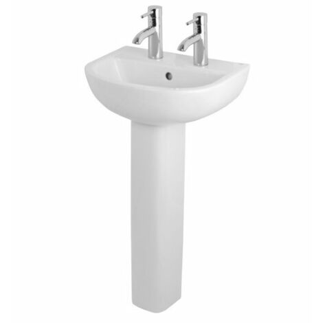 """main image of """"RAK Compact Basin with Full Pedestal - 450mm Wide - 2 Tap Hole"""""""