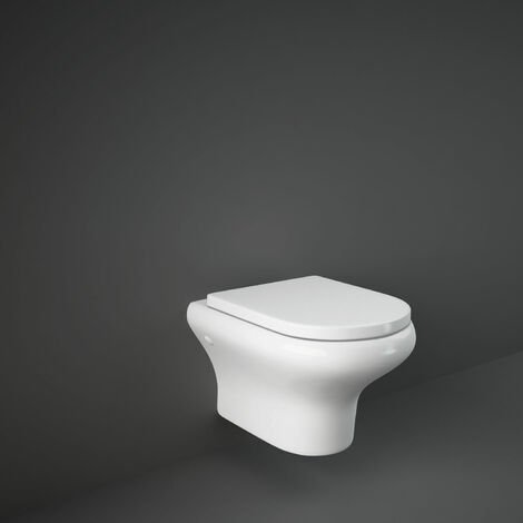 RAK Compact Rimless Wall Hung Toilet with Hidden Fixations 520mm Projection - Urea Soft Close Seat