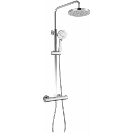 RAK Cool Touch Round Thermostatic Bar Mixer Shower with Shower Kit + Fixed Head - Chrome