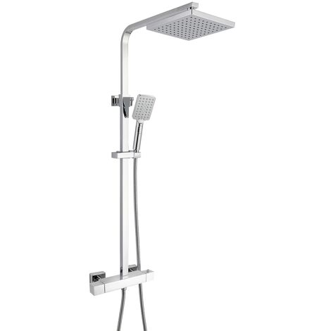 RAK Cool Touch Square Thermostatic Bar Mixer Shower with Shower Kit + Fixed Head - Chrome