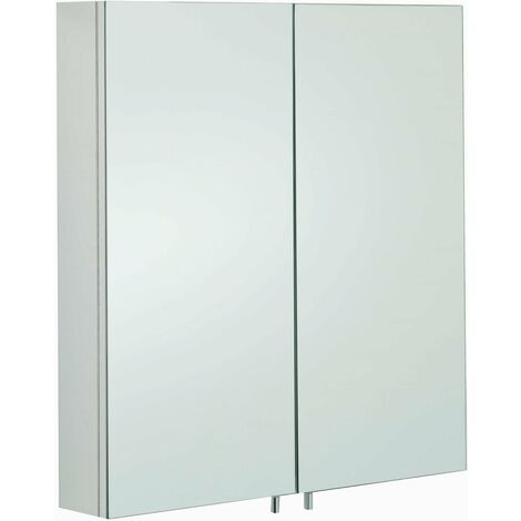 RAK Delta Mirrored Bathroom Cabinet 600mm H x 670mm W Stainless Steel