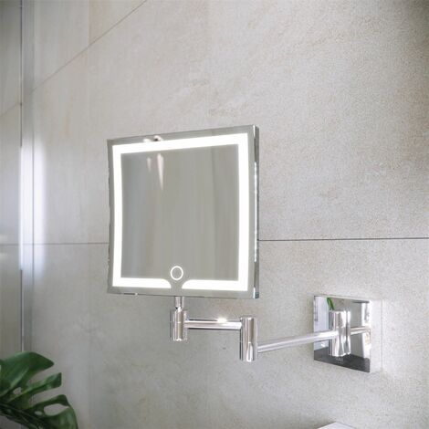 RAK Demeter LED Bathroom Shaving Mirror Square Magnifier Touch Sensor 200 x 200