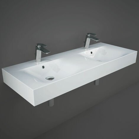"""main image of """"RAK Des Wall Hung Double Basin 1200mm Wide - 2 Tap Hole"""""""