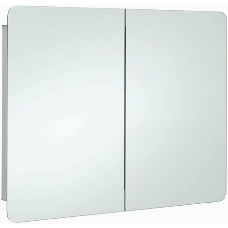 RAK Duo Mirrored Bathroom Cabinet 600mm H x 800mm W Stainless Steel