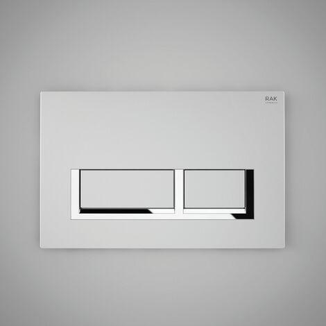 RAK Ecofix Polished Chrome Surrounding Rectangular Dual Flush Plate - White