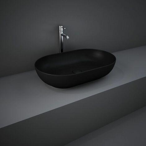 "main image of ""RAK Feeling Bathroom Oval Countertop Basin Sink Matt Black 550mm Waste Stylish"""